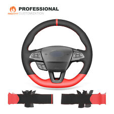 Black Suede Red PU Leather Car Steering Wheel Cover for ford Focus (ST   RS)