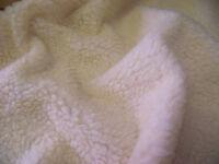 Faux Fur SHERPA FLEECE Sheepskin Fabric Material - CREAM