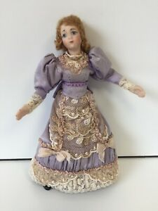 LOVELY GEORGIAN SILK DRESSED PRETTY LADY YOUNG MOTHER DOLL DOLLS HOUSE DOLLHOUSE