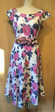 Laura Ashley Pink And Grey Floral Silk Blend Dress Size 16