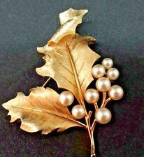 Vintage Designer Crown Trifani Holly Leaf Pin Brooch Pearls Signed Gold Tone
