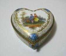 Antique Meissen Style Porcelain Covered Heart Box T*