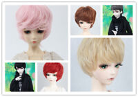 """1/4 BJD Doll Hair Short Wavy Curly Wig 7-8"""" 6 colors Pink Red Brown Black Gray"""