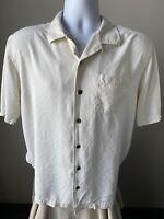 Tommy Bahama Men's Shirt 100% Silk Solid Ivory Size Medium (M)