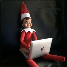 ELF & PROP Red Suit Blue Eyed Brown Hair Boy Elf Doll & Laptop MacBook