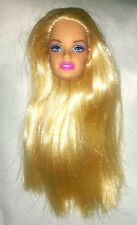 BARBIE Doll HEAD ONLY for Repaint Practice Crafts Straight Blonde Hair Blue Eyes