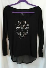 Volcom Woman's Black Shirt With Studded Skull front  High Low Lite Top size XS