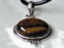 "Vintage 90's Sterling Silver Oval Tigers Eye 35mm Pendanton a 26""Thong £18.95nwt"
