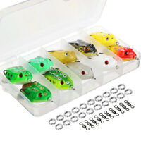 10PCS Cute Frog Topwater Fishing Lure Crankbait Hooks Bass Bait Tackle Connector
