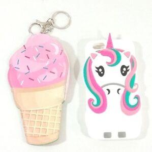 Unicorn Phone Case White Rubber with Ice Cream Cone Coin Purse