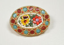 Vintage Micro Mosaic Italian Pin Brooch Flower Multicolored Design NICE