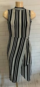 Beautiful Black and White Stripe High Neck Smart Dress Size 6 - 20
