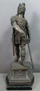 19thC Antique VICTORIAN Era NORSE VIKING WARRIOR STATUE Old MANTEL SCULPTURE