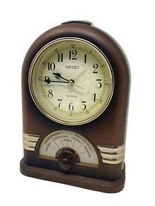 Vintage Seiko Musical Song Jukebox Mantle Alarm Clock Brown Gold QQM122B