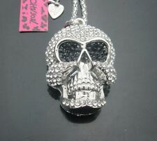 """Crystal Skull With Dark Sunglasses! Pendant Long  21"""" Necklace"""
