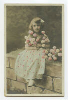 c 1910 Child Children DARLING ROSE GIRL Fantasy French photo postcard
