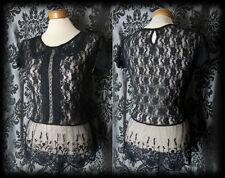 Gothic Black Lace Peter Pan Collar DEADLY DOLL Blouse Top 8 10 Victorian Lolita