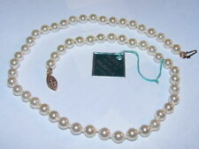 TWO Vintage Stock Majorca Pearl Necklace Original TAG Gold Filled Filigree Clasp