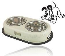 Cream Double Dog Food Feeder Feeding Water Bowl 16oz