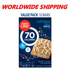Fiber One 70 Calories Soft-Baked Bars Birthday Cake 12 Ct 10.6 Oz WORLD SHIPPING