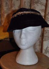 Glamorous Vintage 1950's Black Velvet Cocktail Hat with Gold Coloured Braiding