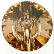 2 x Botones de cristal de Swarovski Luz Colorado Topaz cose en 3015 12 mm de color dorado