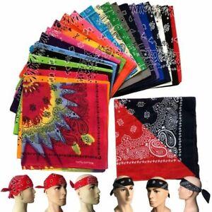 Paisley Cotton Bandana Hairwrap Headband Double Sided Head Wrap Scarf Paiseley