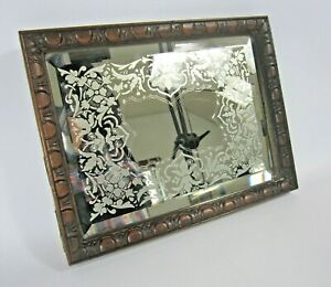 Vintage Etched and Bevelled Small Mirror with Wood Frame Decorative Collectable