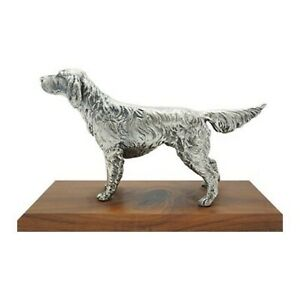 Vintage Silverplate Sporting Dog on Wooden Base