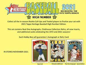 2021 Topps Heritage High Number Baseball Hobby 12-Box Case (Presell)