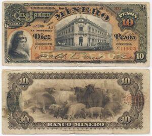 1914 MEXICO Banknote 💲 Banco Minero CHIHUAHUA 10 Pesos AMERICAN BANKNOTE Co.