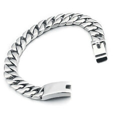 MENDINO Men's Stainless Steel Bracelet Curb Link Chain Bangle Biker Silver Tone