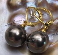 12mm Brown south sea shell pearl 14K GP Hook dangle earrings AAA+