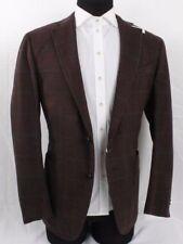 NWT! Ermenigildo Zegna Jacket Blazer Brown & Gray Plaid Wool Size 56 EU 46 US