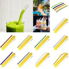 Reusable Glass Straw Home Wedding Party Drinking Straws Set + Cleaning Brush