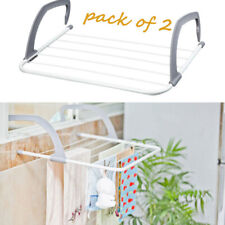 2 x FOLDING RADIATOR CLOTH AIRER RACK CLOTHES LAUNDRY DRYER PORTABLE COMPING