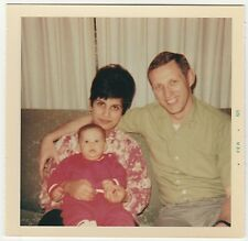 Square Vintage 60s PHOTO Young Family w/ Baby On Mom's Lap