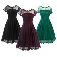 Ladies Retro Vintage 50's Swing Rockabilly Lace Sheer Prom Party Dress Plus Size