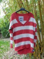 Superdry Women Orange/ Cream Stripes Jumper wool and angora nylon mix -Size L-