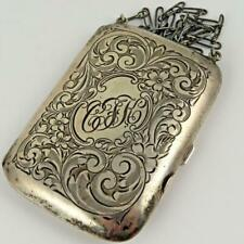 ANTIQUE WEBSTER STERLING SILVER LADIES DANCE COMPACT CARD CASE WALLET COIN PURSE