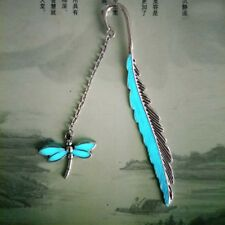 Vintage Glowing Leaf Feather Alloy Dragonfly Book Mark Handmade Charm Bookmark