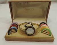 Vintage Gucci Ladies Bangle Watch 1100-L with Interchangeable Bezels And Box ~!