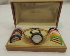 Vintage Gucci Ladies Bangle Watch 1100-L with Bezels And Box ~! SELLING AS IS!!!