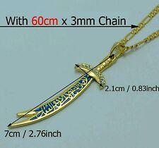 "Shia""IMAM ALI"" Zulfiqar Sword High quality Rhinestone Gold Plated Pendant Chain"