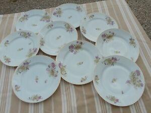 9 Assiettes plates  anciennes en porcelaine  charmant décor floral 19 ème