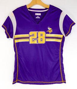 MINNESOTA VIKINGS Peterson #28 JERSEY NFL V Tee Gold Logo SHIRT Women's MEDIUM