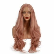 "US STOCK Smoke Pink Lace Front Wig Synthetic Hair Long Wavy 24"" Heat Safe"