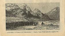 Stampa antica GUARDA VIEJA panorama Cile Chile 1887 Old antique print