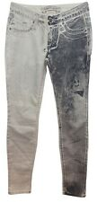 ROBIN'S JEAN BLACK PAINT DETAIL WHITE STRETCHY COTTON BLEND SKINNY JEANS 24