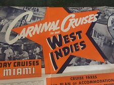 1936-37 CARNIVAL CRUISES TO WEST INDIES CLYDE-MALLORY LINES VTG PAMPHLET POSTER